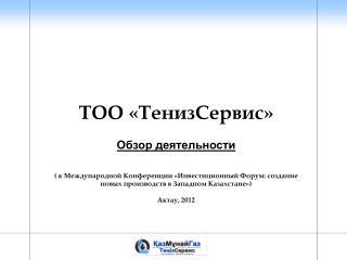 ТОО «ТенизСервис» Обзор деятельности