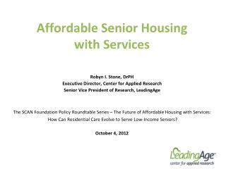 Affordable Senior Housing  with Services