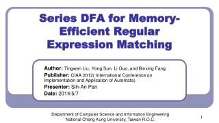 Series DFA for Memory-Efficient Regular Expression Matching