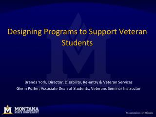 Designing Programs to Support Veteran Students