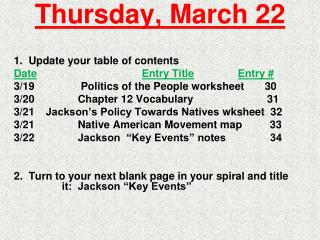 Thursday, March 22
