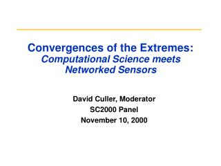 Convergences of the Extremes: Computational Science meets Networked Sensors