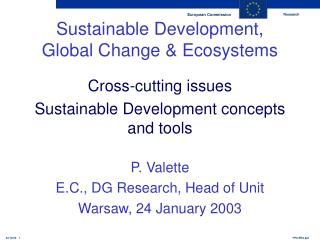 Sustainable Development, Global Change & Ecosystems Cross-cutting issues