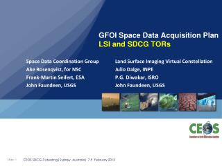 GFOI Space Data Acquisition Plan LSI and SDCG TORs