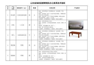 山东省渔政监督管理处办公家具技术指标