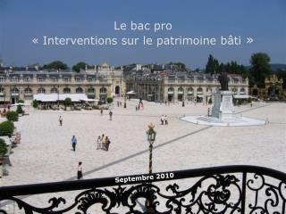 Le bac pro «Interventions sur le patrimoine bâti »