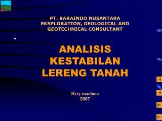 Analisis Kestabilan Lereng Tanah