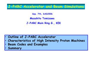J-PARC Accelerator and Beam Simulations