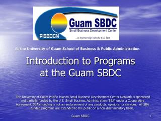 Introduction to Programs at the Guam SBDC