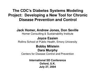 Jack Homer, Andrew Jones, Don Seville Homer Consulting & Sustainability Institute Joyce Essien