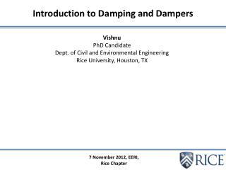 7 November 2012, EERI, Rice Chapter