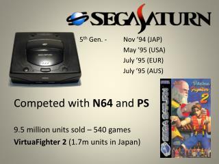 5 th Gen. - Nov '94 (JAP) May '95 (USA) July '95 (EUR) July '95 (AUS)