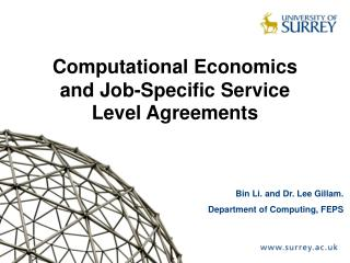 Computational Economics and Job-Specific Service Level Agreements
