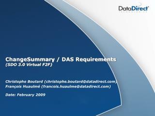 ChangeSummary / DAS Requirements (SDO 3.0 Virtual F2F)