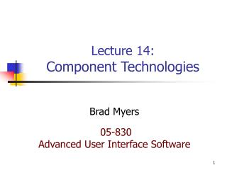 Lecture 14: Component Technologies