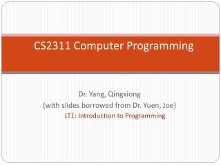 CS2311 Computer Programming