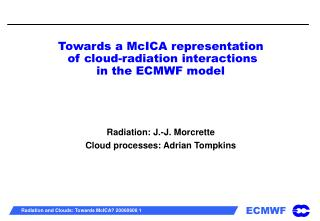 Towards a McICA representation  of cloud-radiation interactions  in the ECMWF model