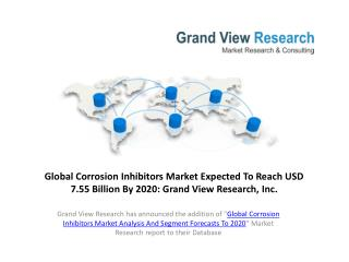 Corrosion Inhibitors Market Analysis To 2020