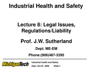 Industrial Health and Safety