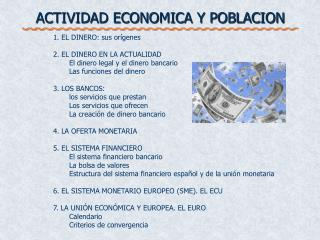 ACTIVIDAD ECONOMICA Y POBLACION