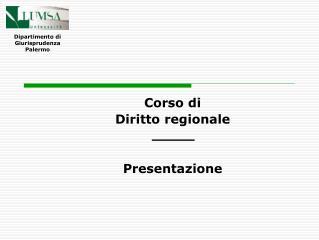 Corso di Diritto regionale Presentazione
