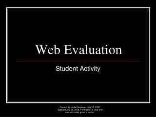 Web Evaluation