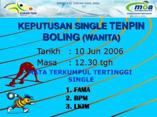 KEPUTUSAN SINGLE TENPIN BOLING (WANITA)