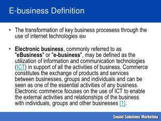 E-business Definition