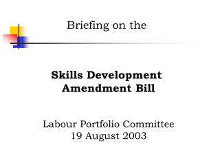 Briefing on the Skills Development Amendment Bill Labour Portfolio Committee 19 August 2003