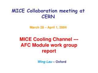 MICE Collaboration meeting at CERN March 28 – April 1, 2004