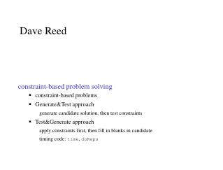 constraint-based problem solving constraint-based problems Generate&Test approach generate candidate solution, then