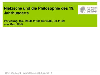 Nietzsche und die Philosophie des 19. Jahrhunderts