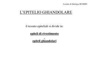 L'EPITELIO GHIANDOLARE