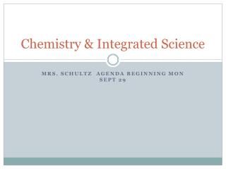 Chemistry & Integrated Science