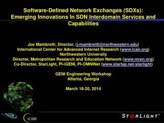 GENI's InstaGENI Network & Rack Fabric