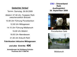 CSU – Ortsverband Roth Ausflugsfahrt 26. September 2009