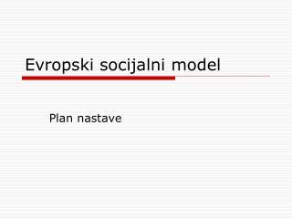 Evropsk i socijalni model