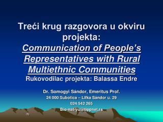 Dr. Somogyi Sándor, Emeritus Prof. 24 000 Subotica – Lifka Sándor u. 29 024 542 265
