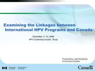 Examining the Linkages between International HPV Programs and Canada