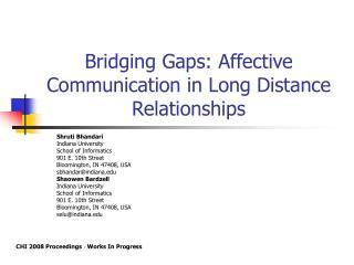 Bridging Gaps: Affective Communication in Long Distance Relationships
