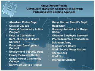 Grays Harbor/Pacific  Community Transition Coordination Network  Partnering with Existing Agencies