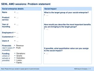 SENL AMO sessions: Problem statement