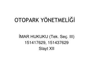 OTOPARK YÖNETMELİĞİ