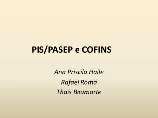 PIS/PASEP e COFINS