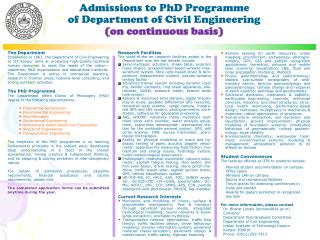 Admissions to PhD Programme of Department of Civil Engineering  (on continuous basis)