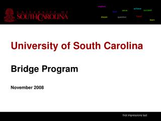 University of South Carolina Bridge Program November 2008