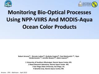 Monitoring Bio-Optical Processes Using NPP-VIIRS And MODIS-Aqua Ocean Color Products