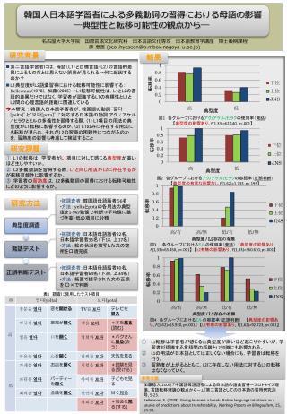 韓国人日本語学習者による多義動詞の習得における母語の影響 ―典型性と転移可能性の観点から―