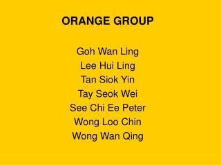 ORANGE GROUP Goh Wan Ling Lee Hui Ling Tan Siok Yin Tay Seok Wei See Chi Ee Peter Wong Loo Chin