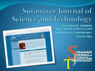 Suranaree Journal of Science and Technology